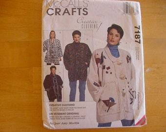 Vintage 1990s McCalls Crafts Pattern 7187, Misses' Unlined Jacket, Variations, Creative Clothing, Amy Martin, One Size Fits 8-20, Uncut