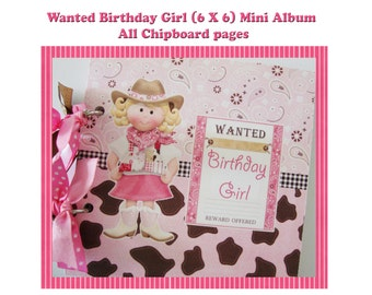 Cowgirl scrapbook album, Premade girl scrapbook, Birthday Mini Album, party photos, family scrapbook, girl brag book,girls birthday
