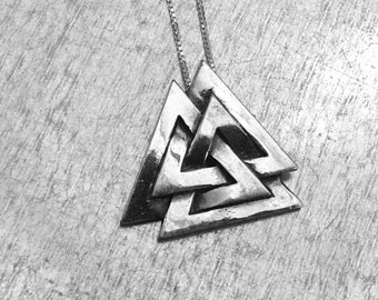 Valknut Necklace, Three Interlocked Triangles, Sterling Silver Valknut, Odin Norse God, King of Asgard Necklace, March of the Valkyries