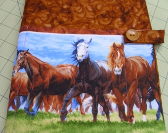 Galloping horse padded Bible case, cover, purse, tote, holder, fabric, cloth, protective, horse, pony, ponies, washable, reusable