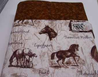 Horse breeds Bible study cover tote purse holder accessory case cotton fabric padded protective washable cloth niv nasb kjv nkjv text novel