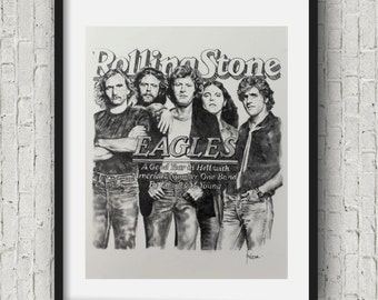 Rock and roll poster the eagles band Art Print