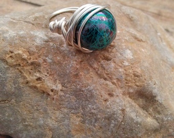 Wire Ring/Wire Wrapped Ring/Splattered Ring/Splattered Wire Wrapped Ring/Handmade Ring/Handmade Jewelry