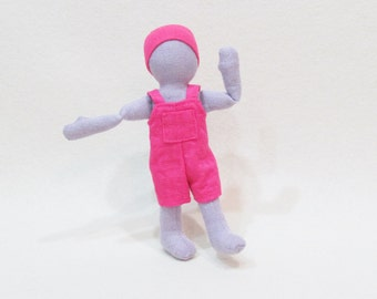 "Pocket doll clothes. 7"" Eco-friendly gender neutral doll outfit with overalls and knit cap"