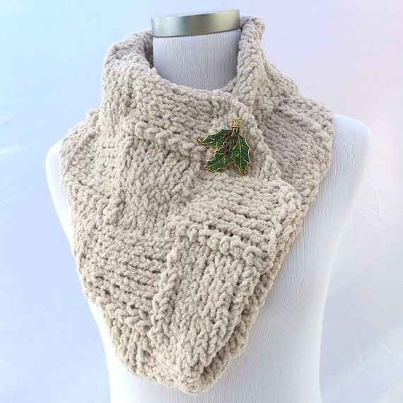 Chenille Knit Infinity Scarf White