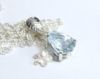 Aquamarine, 10mm x 7mm x 1.54 Carat, Pear Cut, Sterling Silver Pendant Necklace