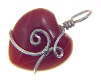 Sterling Silver Wire wrapped Natural Carnelian Puff Heart  pendant necklace 2715P be