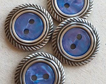eco friendly lapis blue plastic buttons with silver tone metal rims--matching lot of 4