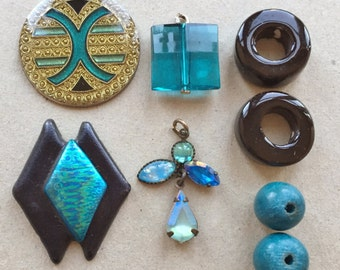 teal blue and black craft lot destash of beads, charms, jewelry components for diy jewelry and assemblages--mixed lot of 8 items