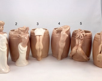 Vintage Dorothy Kindell Striptease Mugs Set of 6