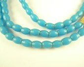 """28"""" strand matched turquoise prosser pressed glass rice African trade beads old"""