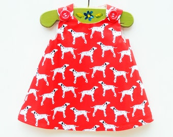 Dalmatian Dogs - Red -  House Pet - Baby's First Pet - Dogs - Girl Dress - Toddler Pattern Dress - Aline Dress - Etsy Kids - Birthday Party