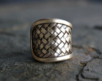 Sterling Silver Woven Ring Gypsy Ring Boho Ring