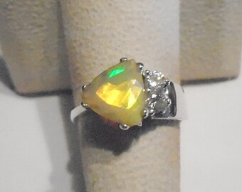 Ethiopian Welo Opal Sterling Silver Ring Size 7
