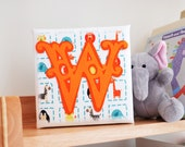 Initial art - Box canvas art - Children's room art - Circus style font initial - Felt art - Gift for children's room - New baby gift