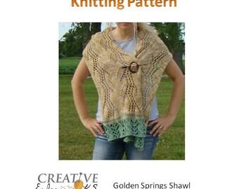 Instant Download Knit Shawl Pattern, Shawl Tutorial, Knitted Shawl Pattern, Lace Scarf Pattern,Knitting Scarf Pattern, Lace Knit Pattern
