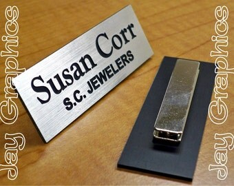 Custom Engraved 1x3 Brushed Silver Name Tag | Badge with Magnetic Closure | Employee ID | Office Business