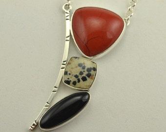 Jasper Necklace - Multi Stone Necklace - Artisan Jewelry - Metalsmith Jewelry