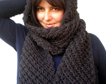 Charcoal  Star Extralong hooded Scarf Hand Knitted  Wool Hood Woman Hooded Scarf Gift under 100 NEW