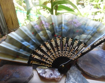 vintage floral fan stiff silk and laquer blk bamboo gold reserved for summerpei!