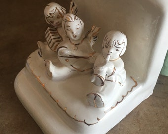 60's CERAMIC BOOK ENDS - Childs Room // Decor // Angels // White and Gold // Holiday // Sweet // Mid Century