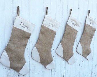 Personalized Burlap Christmas Stocking-With Cream Muslin Patches -Fully Lined-Four Colors Available- Country/Folk/Shabby Chic/Rustic