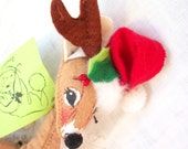 Christmas Reindeer / Deer ~ Holiday Darling Annalee Doll  ~Vintage USA Made ~ Handmade / Hand Painted ~ Poseable Soft Fabric/ Collectible