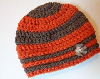 Ready to Ship Newborn Crochet Stripe Hat Baby Boy Photo Prop Orange and Brown