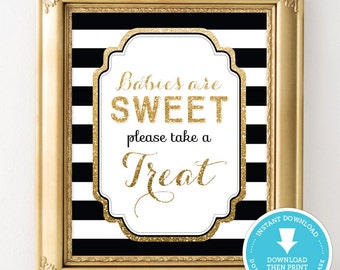 Black and Gold Baby Shower Decor - Sweet Treat table sign - Gold Glitter Baby Shower - Gender Neutral Baby Shower - party sign - printable
