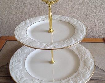 2 Tier Cake Dessert Server Gold White Cupcake Lenox Fruits of Life Plate Stand Tidbit Tea Party Elegant Events