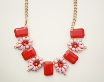 Pink and red floral statement necklace
