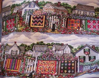 Banks Oregon Colorful Houses and Quilts Cotton Fabric by Diane Phalen - 2 1/3 yd