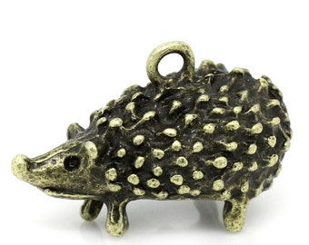 2pc Antique Bronze Hedgehog Pendant - 25x16mm - Charm, Jewelry Finding, Jewelry Making Supplies, Necklace, Bracelet, Ships from USA - A59