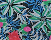 Vintage Cotton Tropical Fabric, Cotton Floral Fabric by the Yard, Hawaiian Fabric, Bright Color, Sewing Fabric - 1 1/8 Yard - CFL1784
