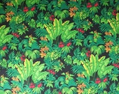 Green Cotton Fabric Jungle Fabric Tropical Fabric Green Fabric Leaf Fabric Hoffman Fabric Emerald Forest - 1 1/2 Yard - CFL1344