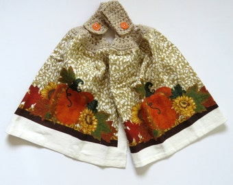 Towel Toppers - Hanging Hand Towel - Pumpkin with Sunflower