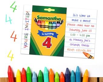 Crayon Party Invitations: Crayon Party Printable, Crayon Birthday Party Invitation, Crayons Art Party Invite, Printable Coloring Invitations