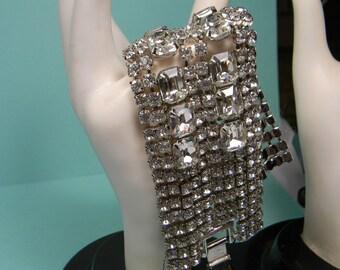 Clear Rhinestone Bracelet,Dazzling Elegant Vintage Classic