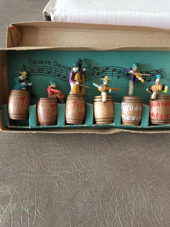 Vintage Square Dance Band wood figures made in Occupied Japan