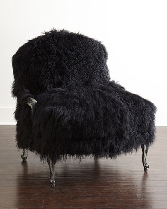 Mongolian lamb fur chair sheepskin