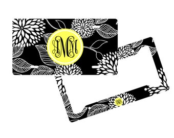 Personalized License Plate Frame - Floral - Monogram Vanity License Plate Frame
