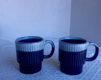 Vintage Ombre Blue Drip Glaze Stacking Mugs Ceramic Cups Made in Japan
