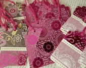 TAGS set/12 Magenta Grey White Floral Foiled Metallic 3 Designs