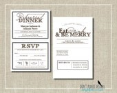 Printable Rehearsal Dinner Invitation with Tear Off RSVP  - Rustic Brown Eat Drink and Be Merry