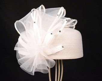 Fancy Church Hat with petals and rhinestones