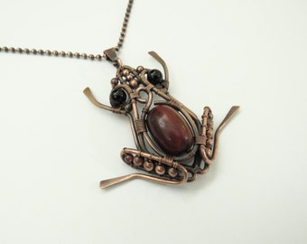 Frog Copper Pendant/Necklace, Natural Stones,  Copper Chain