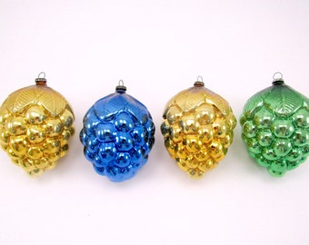 Vintage Mercury Glass Grape Cluster Christmas Ornaments 1950s Christmas Decorations Baubles Japan Mold Blown