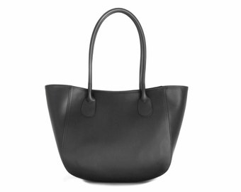 Leather Tote Bag, Black Italian Leather Purse, Designer Leather Handbag, Leather Handbag -.- the Anadar  -.-  winter sale 30% off