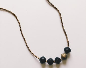 Long Black Paper Bead Necklace