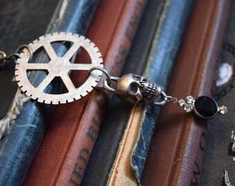 Steampunk Skull Necklace, Steampunk Jewelry, Unisex Jewelry, Skull Jewelry, Goth Jewelry, Gothic Necklace, Men's Jewelry, Unisex Necklace